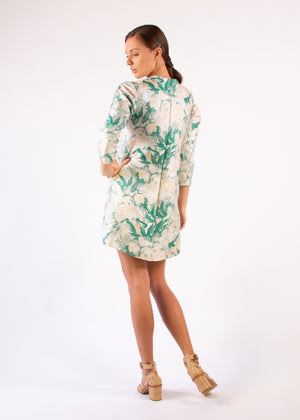 Cocktail dress beige green 3/4 sleeves leafs embellished round neck