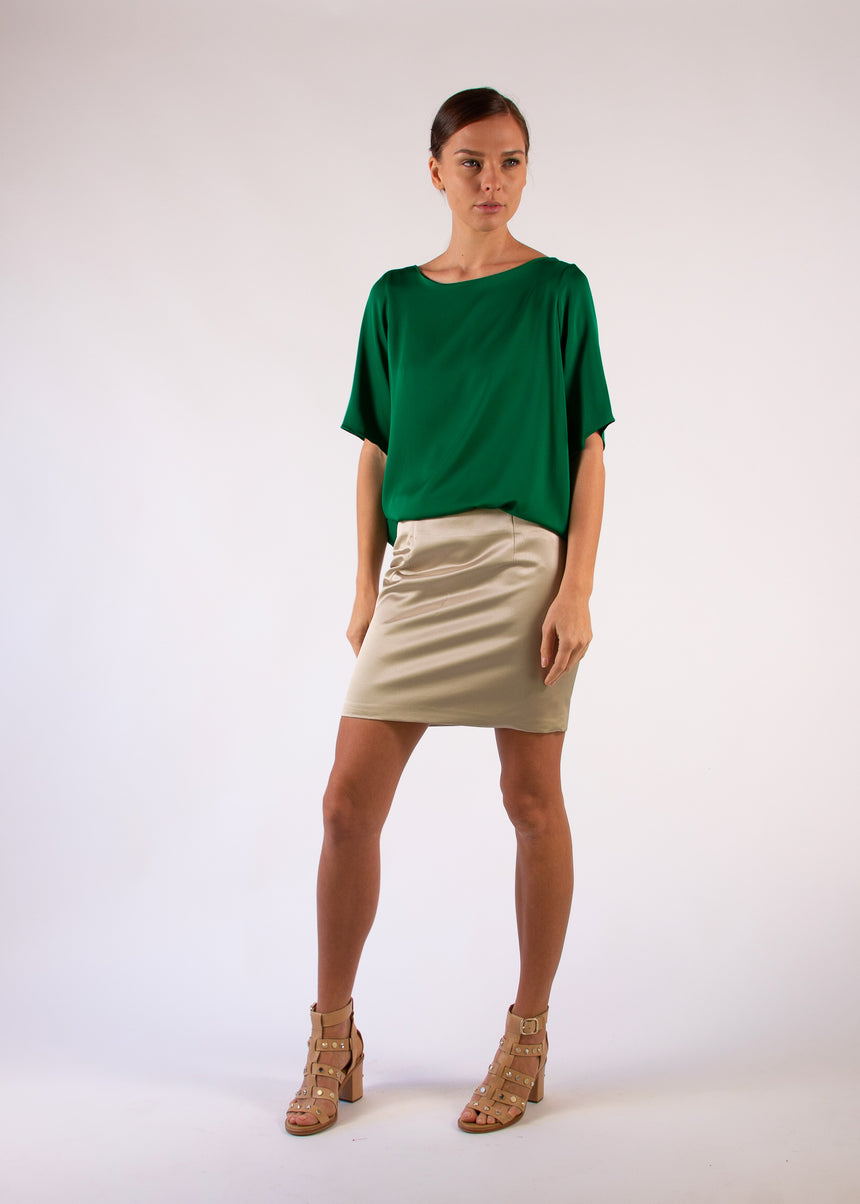 Blouse Short Sleeves Green Silk Boat Neck Relaxed Fit
