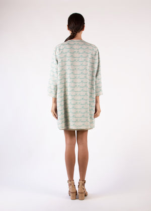 Coat Green Leafs Print Natural Linen Round Neck Loose Fit