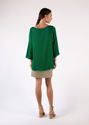 Blouse  in Green Silk Charmeuse With 3/4 Sleeves Boat Neck Relaxed Fit