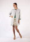 Coat Natural Rustic Linen Round Neck Loose Fit