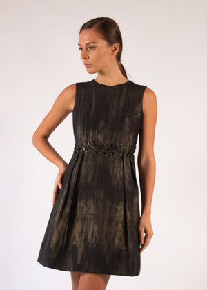 Cocktail dress cotton black gold see through pleated stars beads embroideries