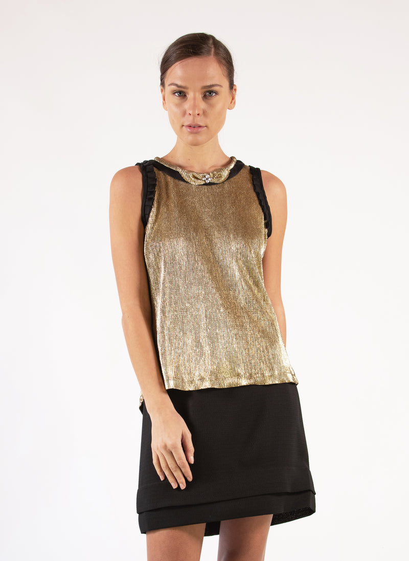 Blouse Metallic Textured Gold Black Pleated Aplique Rhinestones Embroideries