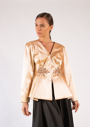 Jacket salmon silk lace applique asymmetrical pleats embroidered long sleeves