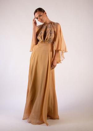 Cape Gown taupe silk appliqué embroidered braid halter neck