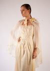 Cape Gown ivory silk embroidered pleated heart white feathers handmade flowers
