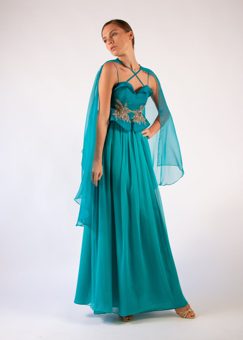 Cape Gown emerald silk detachable cape aplique embroidered heart neckline