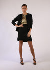 Classic Black Crepe Embossed Buttons Pleated Hem Skirt Suit