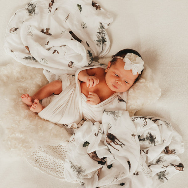 Woodland - Bamboo Swaddle Wrap - Peachly Australia