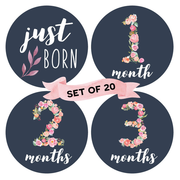 Floral - Baby Milestone Stickers (Set of 20) - Peachly Australia
