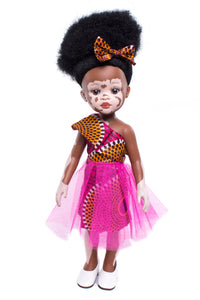 Ndanaka Vanilla Scented Afro Hair Vitiligo Doll - Pink - Sibahle Collection