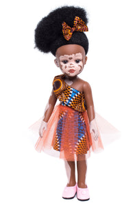 Ndanaka Vanilla Scented Afro Hair Vitiligo Doll - Orange - Sibahle Collection