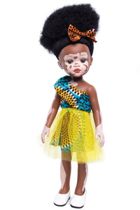 Ndanaka Vanilla Scented Afro Hair Vitiligo Doll - Yellow - Sibahle Collection