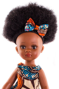 Bontle Vanilla Scented Afro Hair Black Doll - Orange Dress - Sibahle Collection