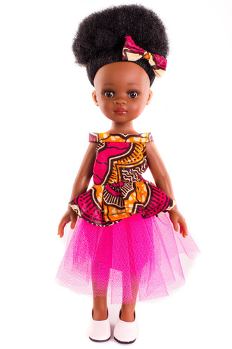 Bontle Vanilla Scented Afro Hair Black Doll - Pink Dress - Sibahle Collection