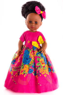 Nobuhle Vanilla Scented Afro Hair Black Doll - Pink - Sibahle Collection