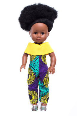 Nobuhle Afro-Print Jumpsuit: Yellow - Sibahle Collection