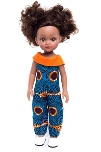 Rainbow Nation Afro-Print Jumpsuit: Orange - Sibahle Collection