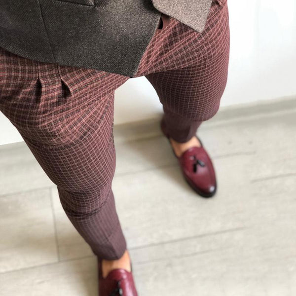 Men's vintage slim mid-rise plaid trousers