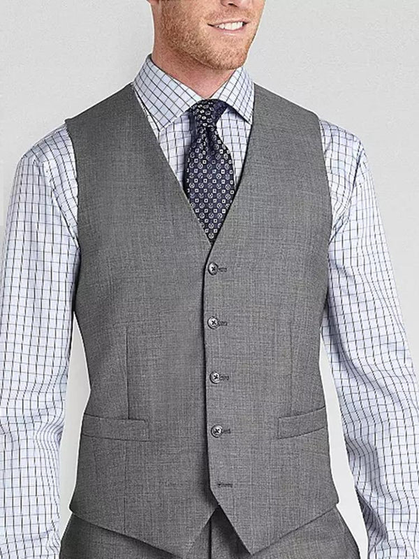 Formal business gray mens fitted vest