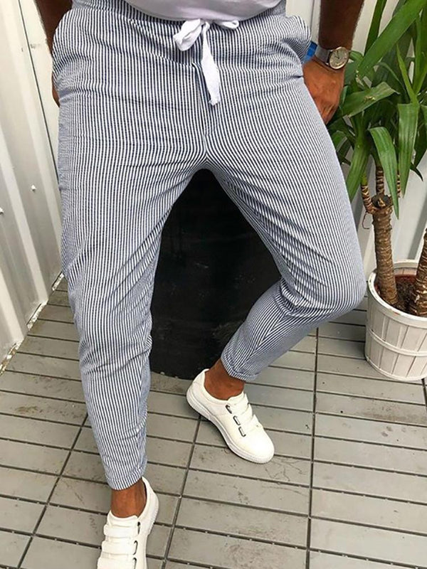 Casual Simple Stripe Belted Pants