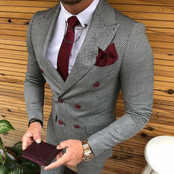 Fashion Fine Plaid Flip Collar Double-Breasted Suits
