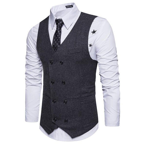Fashion Retro Printed V-Neck Double-Breasted Suit Vests