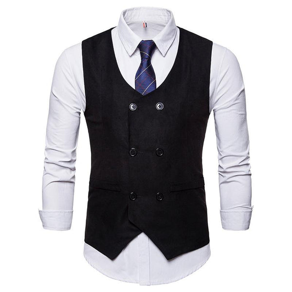 Fashion Solid Color Double-Breasted Business Suit Vests