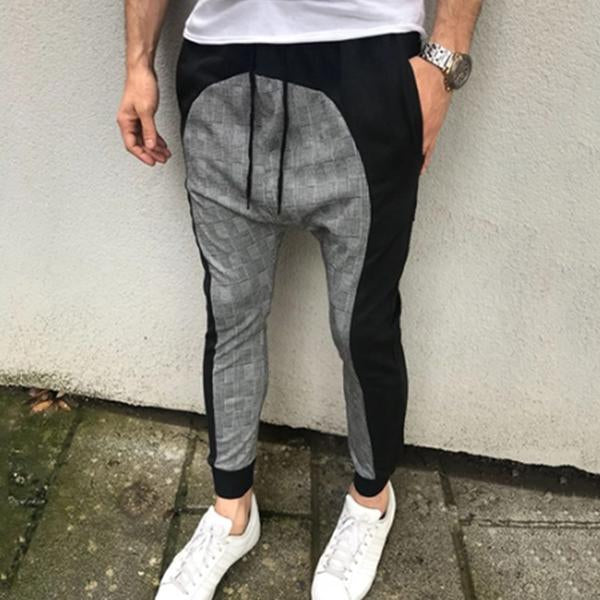 Men's Casual Plaid Splicing Loose Pencil Pants