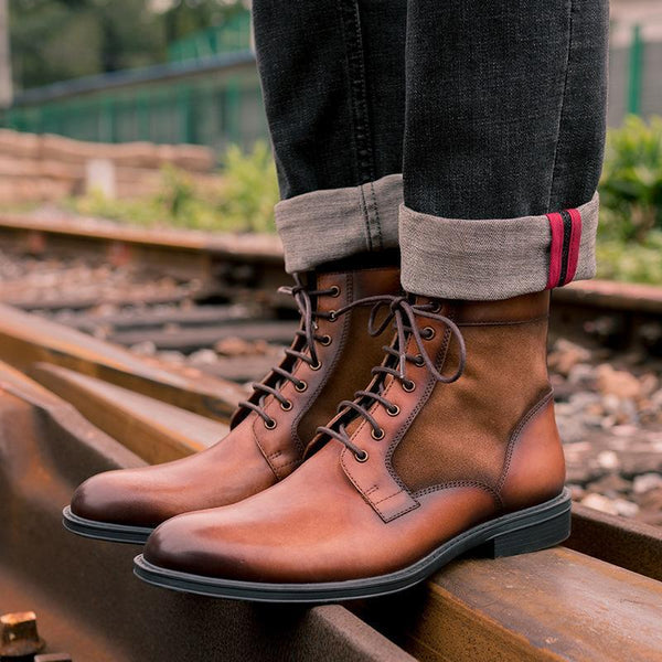 Euramerican Style Basic Men's Lace-Up Low-Heel Martin Boots