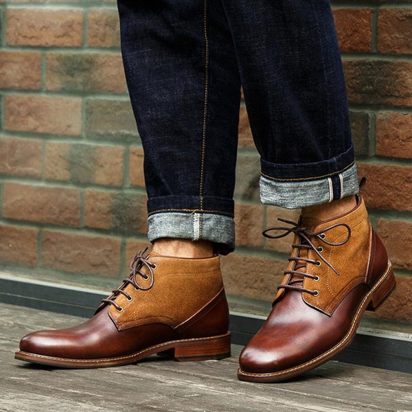 Fashion Men Round Toe Square Heel Colouring Boots