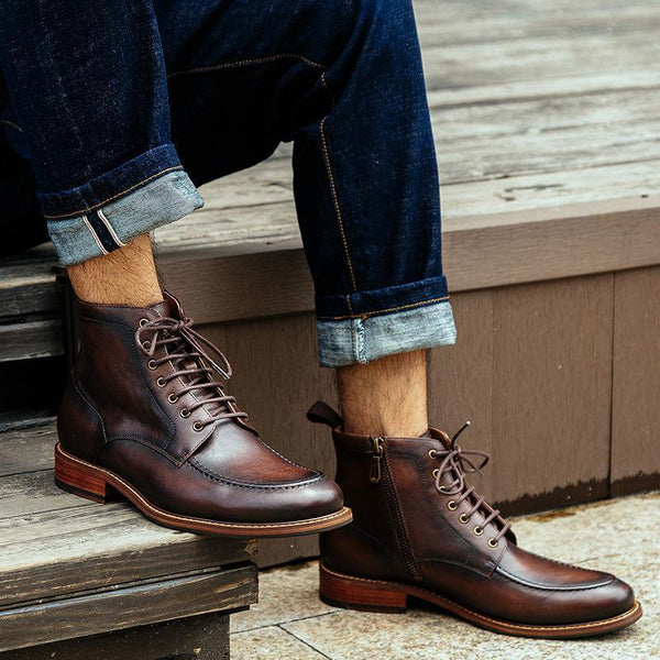 Men Fashion Low Heel Short Tube Plain Boots