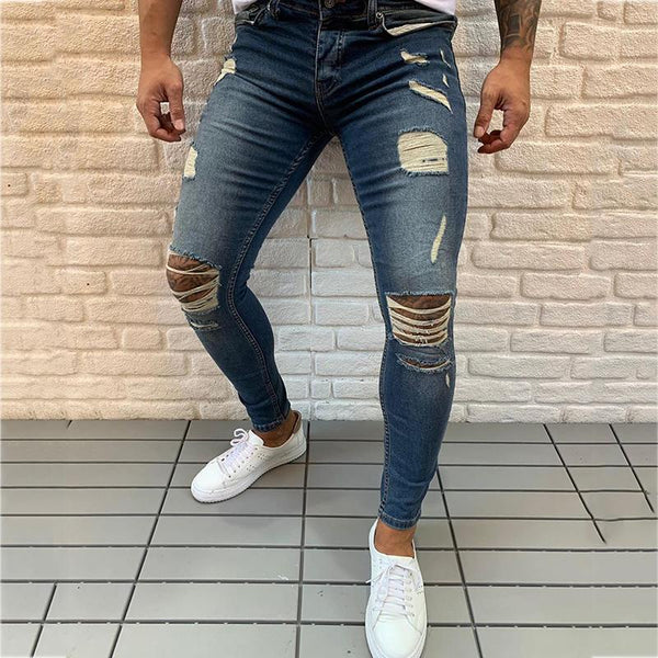 Men's fashion high waist slim hole stretch jeans