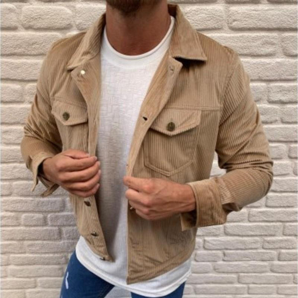 Casual single breasted solid colour corduroy jacket