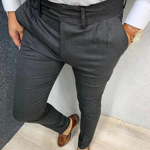 Mens Business Casual High Waist Bodycon Pants