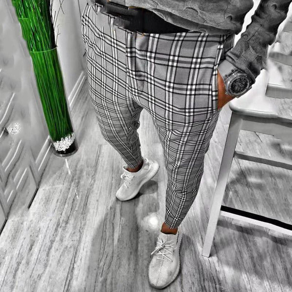 Fashion houndstooth men's business trousers