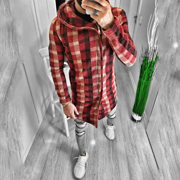 Fashion Red Check Hooded Zipper Long Overcoat