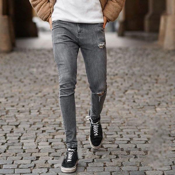 Fashion high waist slim hole male jeans