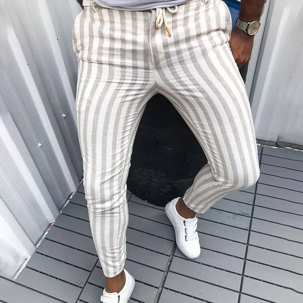 Casual Vertical Striped Printed Long Pants