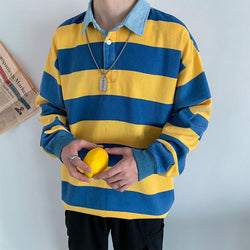 Fashion long sleeve striped polo shirt