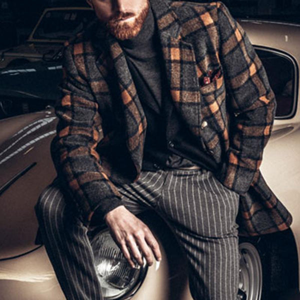 Retro double-breasted long sleeves check coat