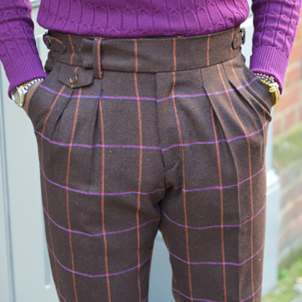 Men's casual high waist plaid pants