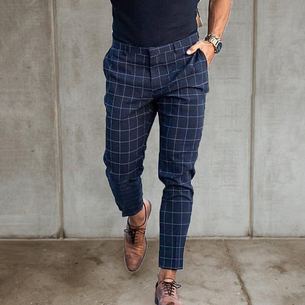 Men's Casual Plaid Loose High-waist Pants