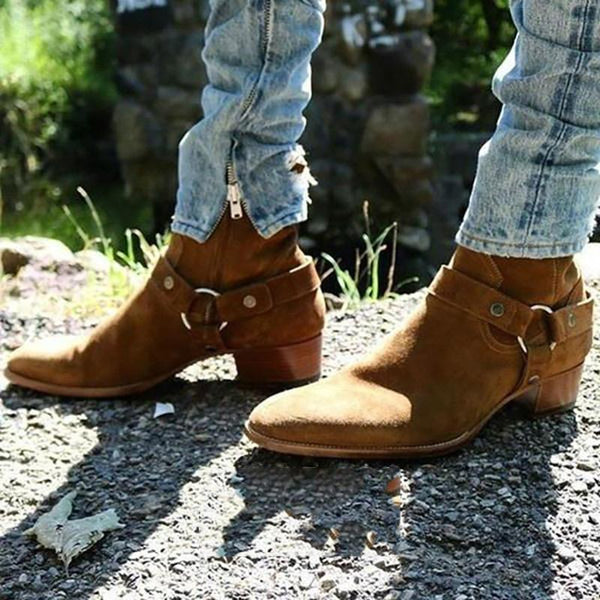 High Quality Men Zipper Suede Ankle Boots