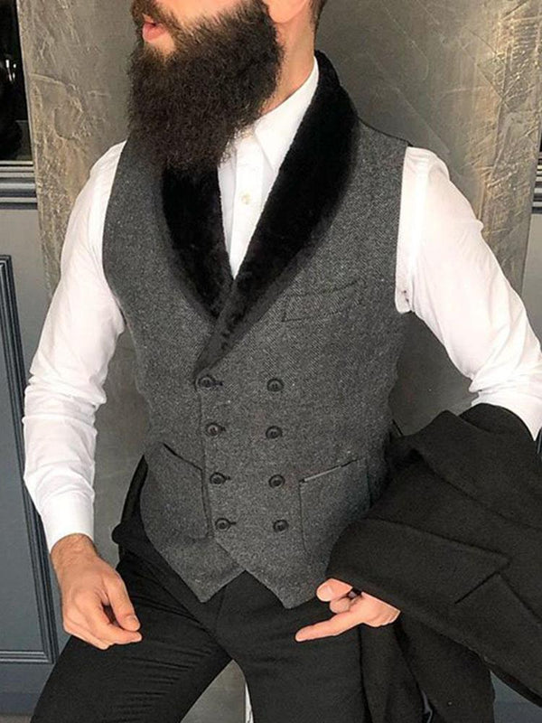 Formal retro shawl collar double-breasted mens vest
