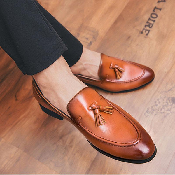 Fashion men's tassel pointed toes leather shoes