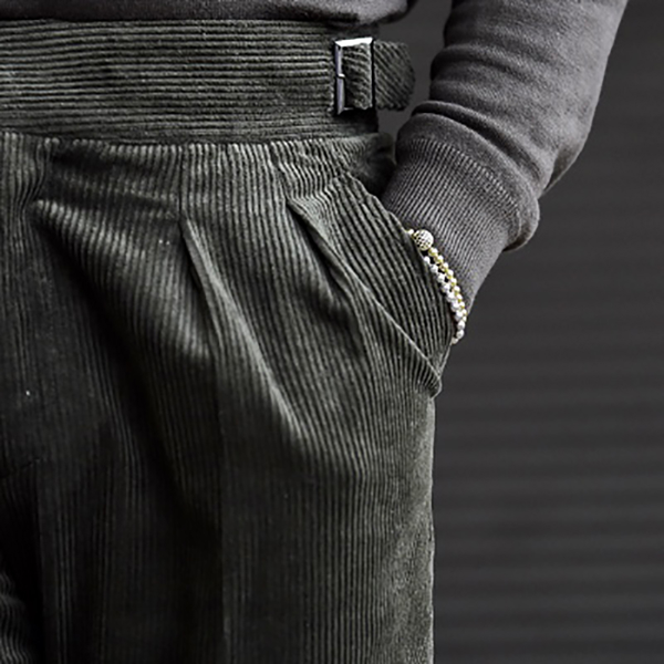 Men's fashion green high waist loose corduroy pants