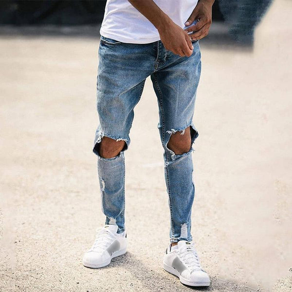 Men's High Waist Ripped Jeans