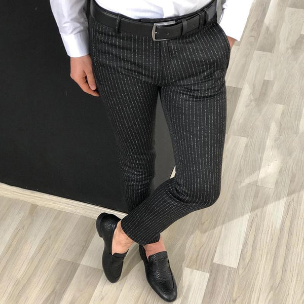 Men's Mid-Rise Slim Striped Pants