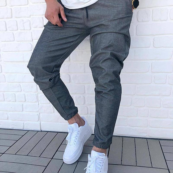 Men's casual pure color beam foot sports pants